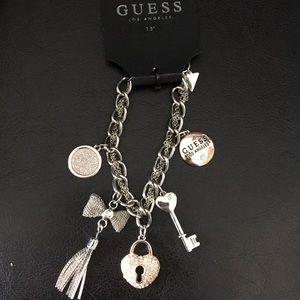 New Guess Charm Bracelet, Key, Locket, Bow, Tassel